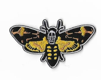 Silence of the Lambs Patch Embroidered Iron / Sew on Badge Horror Movie Hannibal Lecter Red Dragon Applique Souvenir Death's Head Moth