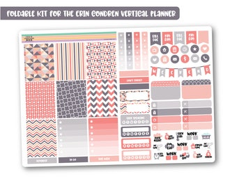 GEO PEACH weekly planner kit, Cheap stickers kit, Mini planner kit perfect for the vertical Erin Condren, Cute weekly kit - Foldable!