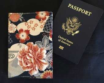 Japanese Cranes and Flowers RFID Protective Passport, Cash and Card Holder