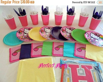 ON SALE 50 Piece Hello Kitty tableware for 8 People                                      Birthday Decorations Party Supplies