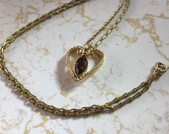 Vintage Avon heart necklace with brown stone