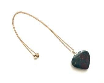 Vintage necklace, heart necklace, charm necklace, gemstone necklace, Blood stone necklace
