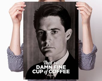 Poster Print: Agent Dale Cooper Twin Peaks portrait photo, Damn fine cup of coffee quote, Kyle MacLachlan, FBI, large A3 card