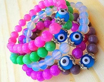 Dyed Jade Evil Eye Bracelet