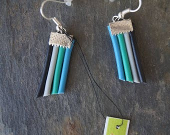 Electric wire earrings tubes