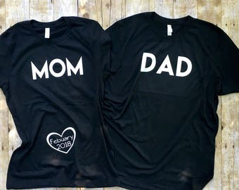 Mom and dad shirts, pregnancy Announcement, expecting Shirt, Couples shirt, Mommy to Be Shirt, pregnancy shirts, Pregnancy Reveal, New Mom,