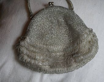 Richere Silver Bugle Beaded Bag by Walborg/Made in Japan/ Evening bag/ Wedding Purse/ Prom Purse/ Formal Purse
