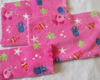 3 pieces of fleece pink printed fish