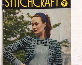 40s Knitting Pattern - Vintage Stitchcraft October 1945 Knitting Patterns Booklet Good Condition