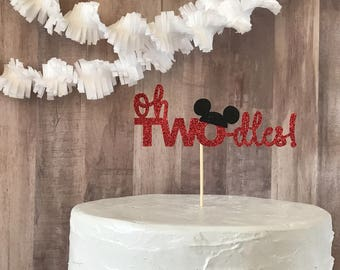 Oh twodles cake topper/mickey mouse cake topper/birthday party