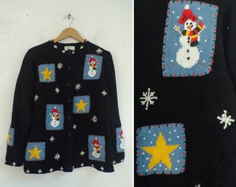 Embellished Snowman Sweater, Quacker Factory Snowman Snowflake Embroidery Ramie Cotton Cardigan Sweater Small 90s Winter Button Cardigan