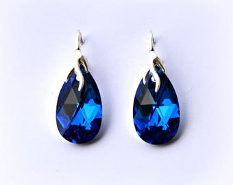 Swarovski earrings teardrop Capri Blue Comet Argent Light Blue Silver hooks Bridesmaid earrings crystal rhinestones