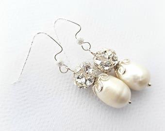 Bridal white pearl wedding earrings Wedding jewelry Freshwater pearls Bridal gift Swarovski earrings