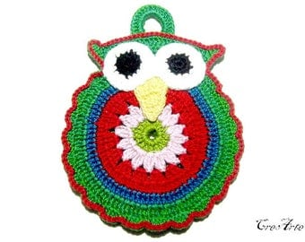 Green crochet owl potholder, presina gufo verde all'uncinetto