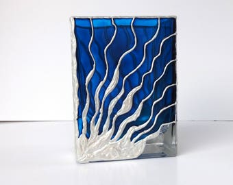 Hand Painted Blue Glass Vase