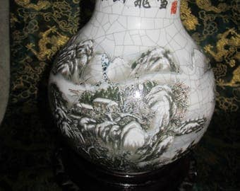 Chinese  Crackle Finish Vase Winter Scene Vintage Red Mfg Markings