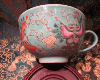 Qing Guangxu Famille Rose Mille Fleure Turquoise Handle Tea Cup With Org Red Antique Markings Rare Outstanding Collectible
