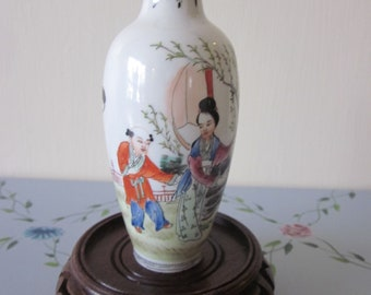 "Chinese Antique Republic Era Vase Eggshell Geisha Details and Calligraphy Details 5 3/8 ""  Vtg Red Markings"