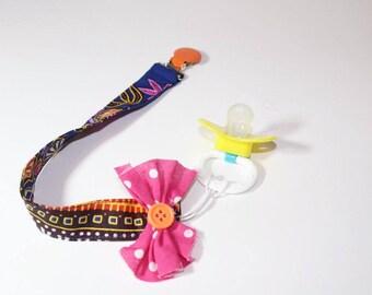 Dashiki Pacifier holder pacifier clip binky clip binky holder-orange pink blue