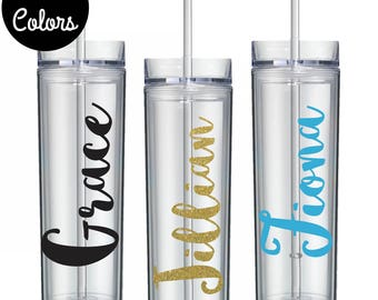 Custom Plastic Cup, Beach Cups, Personalized Tumbler with Straw, Skinny Name Tumbler, Vacation Tumbler