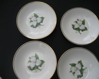 """7-8"""" Bowls by Limoges American Trillom White Glamour pattern w/22k accents"""