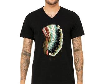 MEN PREMIUM Vneck Native American Headdress  menT-shirt Skull DreamCatcher Shirts