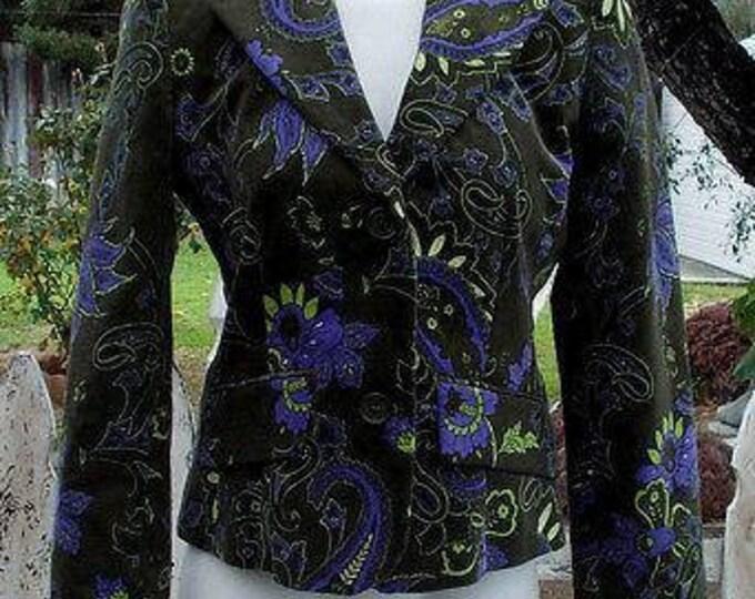 Vintage 90s Womens Petite Sophisticate Green Blue Yellow Floral Velvet Long Sleeve Button Blazer Jacket Size 4