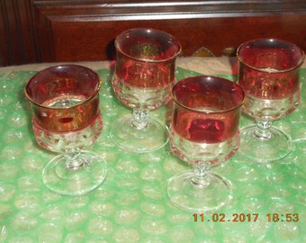 Set of 4 Tiffin Kings Crown thumbprint ruby red cordial wine water juice goblets glasses