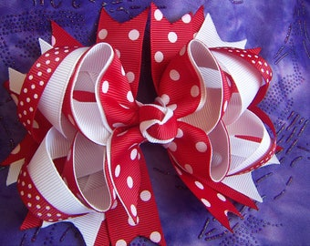 NEW Valentine  Red & White with Dots Hair Bow Handmade Large Bow French Clip Only
