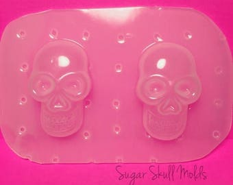SUMMER SALE 2pc Grinning Skull Head Flexible Plastic Mold For Resin Crafts Decodan Jewelry