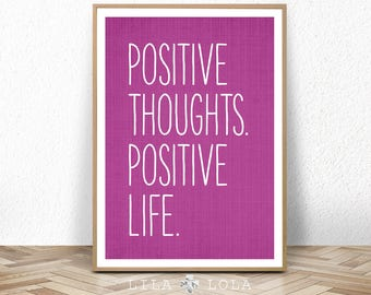 Inspirational Wall Art, Motivational Quote Print, Printable Wall Art, Positive Thoughts, Digital Download, Purple Decor, Typography Poster