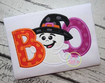 Boo Ghost Halloween Applique Embroidered Toddler T-shirt, Embroidered T-shirt