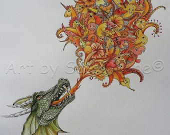 fire - doodles, doodle art, limited edition, pictures, drawing, surreal, colored, animal, print,