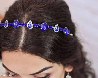 Sapphire Wedding hair accessories Summer wedding Crystal crown Bridal tiara Bridesmaid gift silver Romantic wedding Sapphire crystal tiara