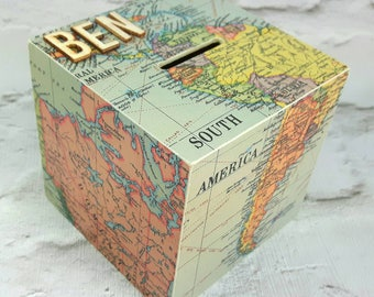Personalised South America Money Box, Map Decor, Wanderlust Money Box, Travel Decor, Map Money Box, Map Piggy Bank, Travel Fund Gift