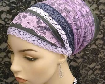 Lilac leopard lace sinar tichel, tichels, chemo scarves, head scarves, hair snoods