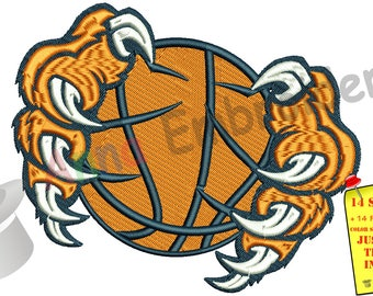 Tiger Paw Embroidery Design - Sports Embroidery- Basketball Ball Embroidery -Machine Embroidery Patterns-Instant Download-PES