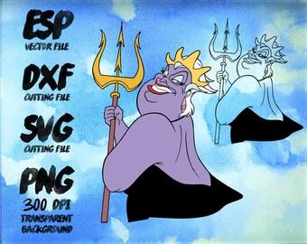 Disney Villains Ursula  Clipart , SVG Cutting , ESP Vectors files , T shirt , iron on , sticker