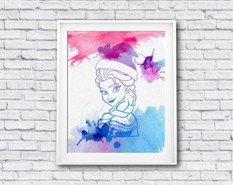 "Elsa Christmas watercolor Murals ,8""x10""  JPEG & PDF file , Inspirational Quote, Digital Prints,Wall Art Prints, Digital Download"