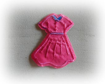 1 patch fusible patch / applique dress in shades of pink and blue 7 * 5.5 cm