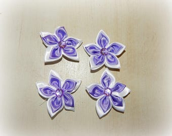 4 purple background-5 petal flower appliques white 5.5 cm