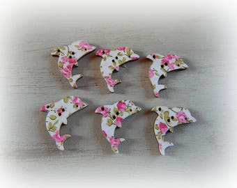 Pink 6 Dolphin 31 * 25mm flower buttons