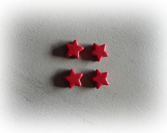 4 beads, 12 mm red howlite star