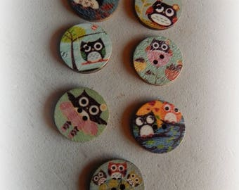 7 buttons round OWL / OWL multicolor 20 mm
