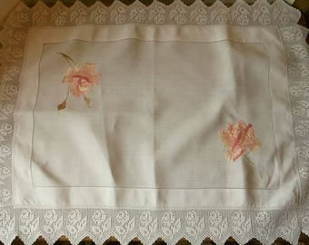 Vintage Embroidered Lace Table Cloth or Center