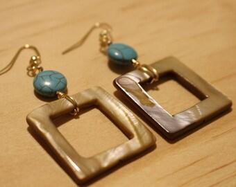 Turquoise Magnesite & Shell Earrings