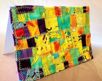 """Modern and fun fabric 4""""x6"""" blank note card suitable for framing"""