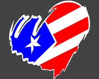 Puetro Rico bandera Corazon Car Decal/ sticker