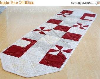 ON SALE Maroon Table Runner, Burgundy Table Topper, Modern Red and Gray Decor, Quilted Table Mat, Dark Red Table Quilt, Star Pinwheel Table