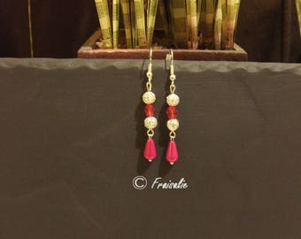 1 pair of silver dangle earrings drop fuchsia colored miracle